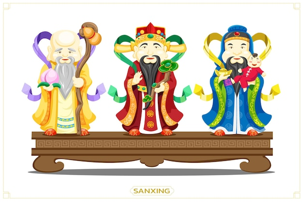 Sanxing chińskich trzech gwiazd bogów szczęścia, bogactwa, zdrowia i szczęścia, bogów