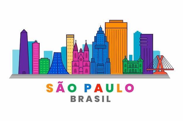 São paulo skyline ręcznie rysowane ilustracja