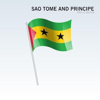 Sao tome and principe macha flagą odizolowaną na szaro