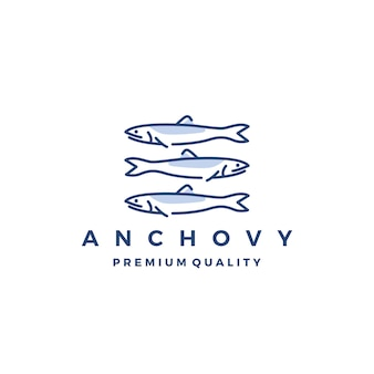 Sardela rybiej loga ikony owoce morza wektorowa ilustracja
