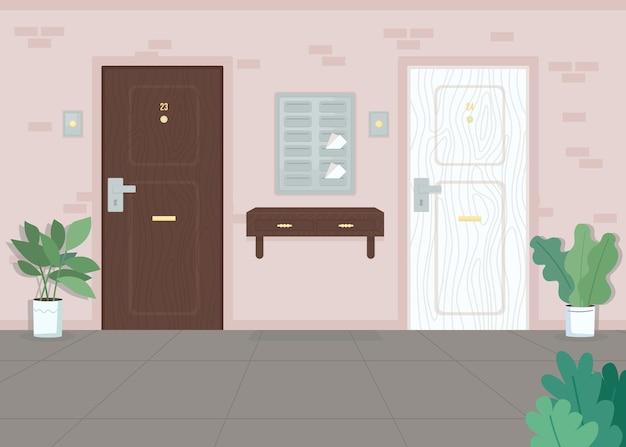 Sąsiednie drzwi mieszkania kolorowa ilustracja dom miejski skrzynki pocztowe poczta w skrzynce pocztowej