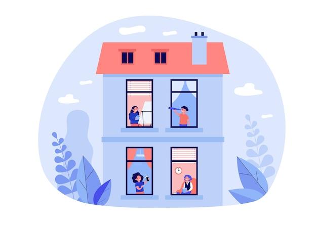 Sąsiedzi cieszą się wolnym czasem w domu