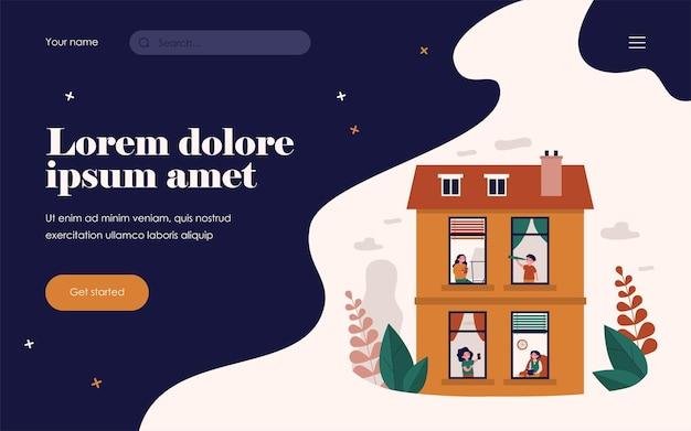 Sąsiedzi cieszący się wolnym czasem w domu. zobacz przez okno, ludzie uprawiający hobby płaskie wektor ilustracja. kamienica, koncepcja sąsiedztwa na baner, projekt strony internetowej lub landing page