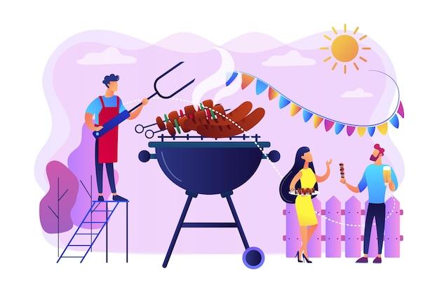 Sąsiedzi grillowanie ilustracji kiełbasek