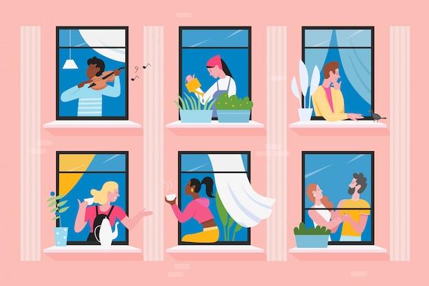 Sąsiedzi ludzie w ilustracji okien domu, postać z kreskówki płaskiego mężczyzny komunikują się, grają na skrzypcach, karmią ptaki