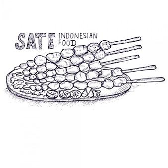 Sate indonezyjskie jedzenie, szkic doodle