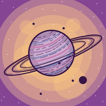 Saturn milkyway planety kolorowa kreskówka