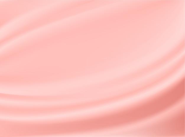 Satynowa tkanina z różowego złota na białym tle na tle projektowania koncepcji