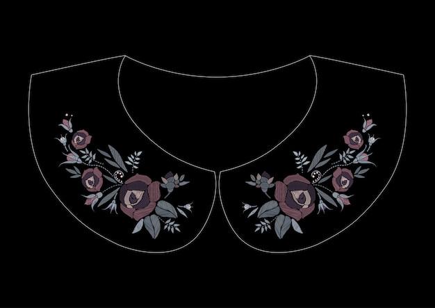 Satynowy wzór haftu z różami. modny kwiatowy wzór w stylu folk na kołnierzu sukienki.