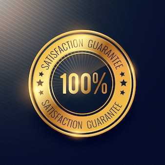 Satysfakcja gwarantuje złoty odznaka i projekt wektora naklejki