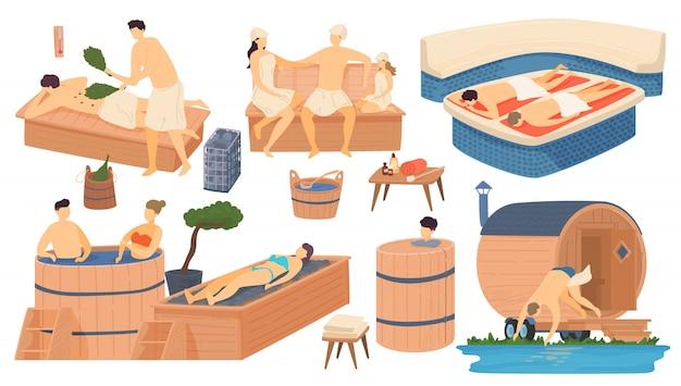 Sauna i spa drewniana łaźnia, ludzie w apańskiej rosyjskiej i tureckiej łaźni, łaźnia parowa relaks i wypoczynek ilustracja kreskówka zestaw.