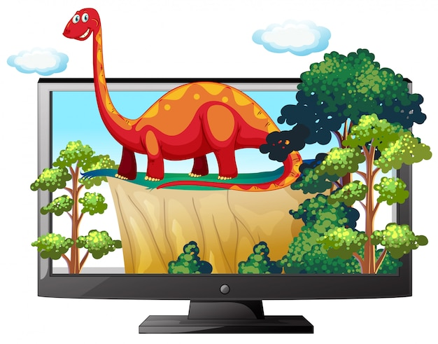Sauropod na monitorze komputera na białym tle