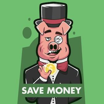 Save money pig illustration concept