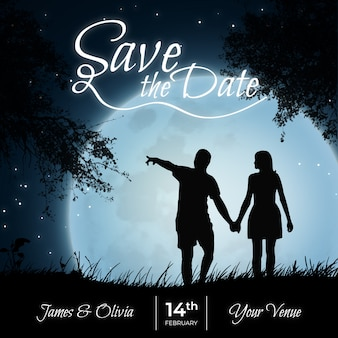 Save the date: couple at night