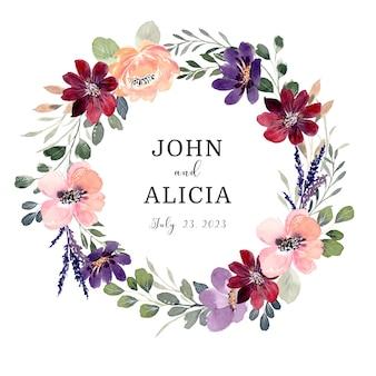 Save the date kolorowy dziki wianek kwiatowy z akwarelą