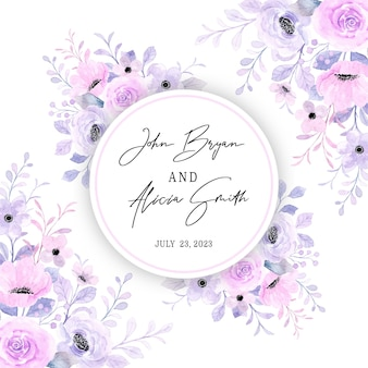 Save the date piękna różowa fioletowa kwiecista ramka z akwarelą