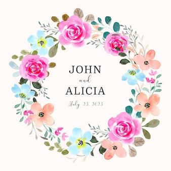 Save the date różowa róża kwiatowy wieniec z akwarelą