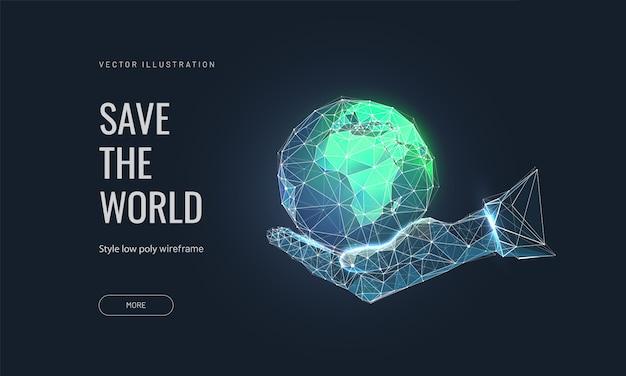 Save the earth concept. planeta ziemia w ludzkiej dłoni