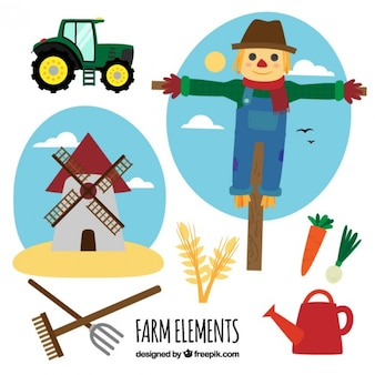 Scarecrow z elementami gospodarskich