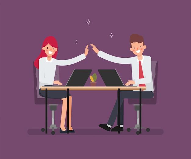 Scena animacji dla współpracowników ludzi biznesu w pracy.