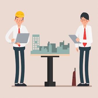 Scena animacji postaci przemysłu inżyniera.