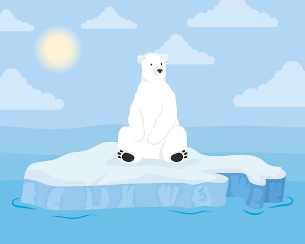 Scena arktyczna bloku góry lodowej z niedźwiedziem polarnym