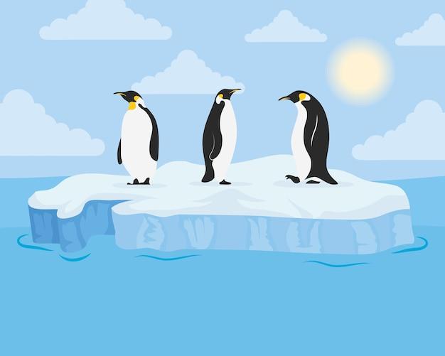 Scena arktycznego dnia bloku góry lodowej z pingwinami