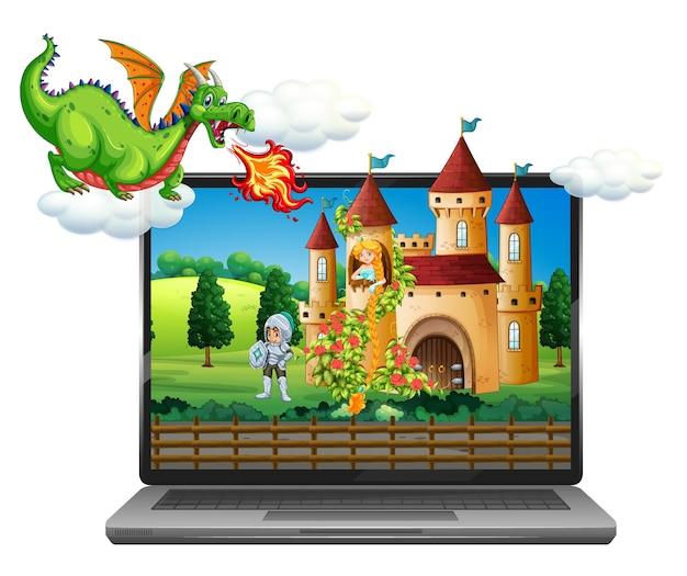 Scena bajki na tle laptopa