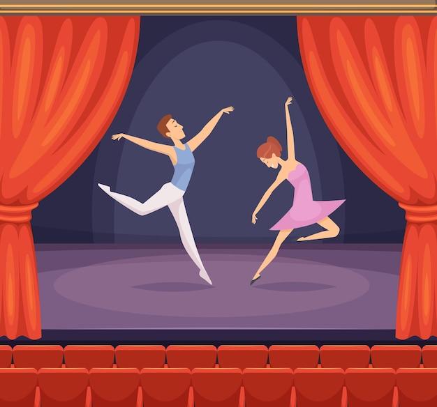 Scena baletowa. tancerz męski i żeński taniec na scenie wektor piękne tło z czerwonymi zasłonami w teatrze. scena z tanecznym występem baletowym, młoda dziewczyna i chłopak na ilustracji koncertowej