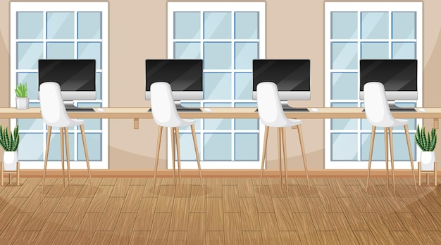 Scena biurowa z wieloma komputerami na stole