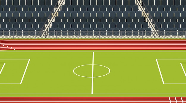 Scena boiska piłkarskiego ze stadionem