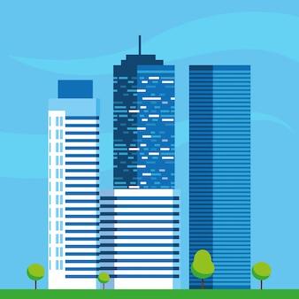 Scena budowy budynków miasta