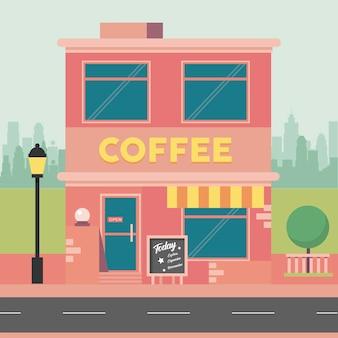Scena budynku kawy