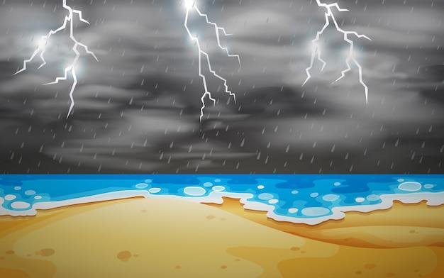 Scena burzy z piorunami na plaży