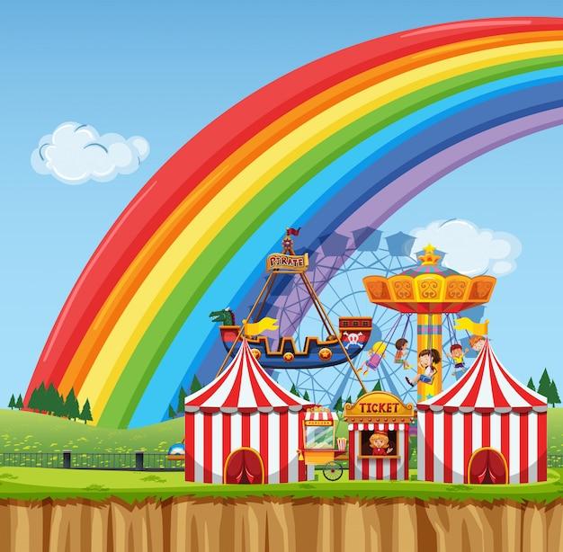Scena cyrkowa z dziećmi bawiącymi się w ciągu dnia