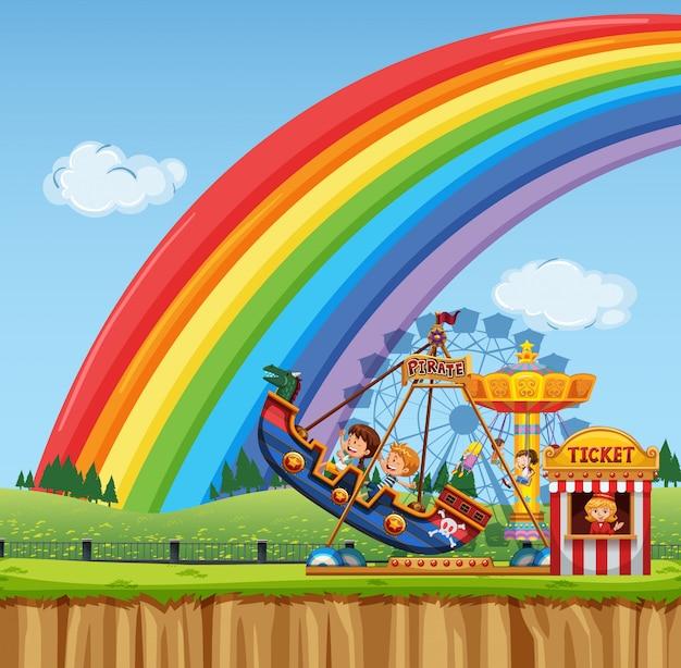 Scena cyrkowa z dziećmi jadącymi na statku wikingów