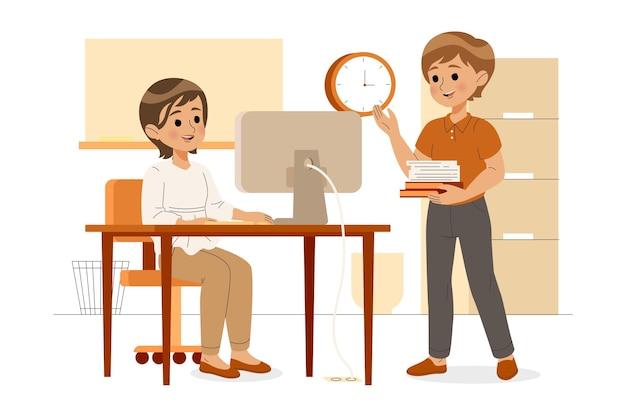 Scena dnia pracy z ludźmi w biurze