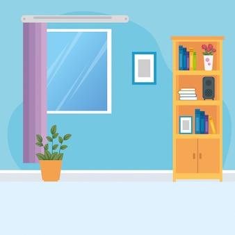 Scena domu wnętrze z meblami i dekoracja ilustracyjnym projektem