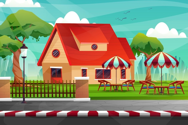 Scena domu z krzesłem i stołem na trawniku