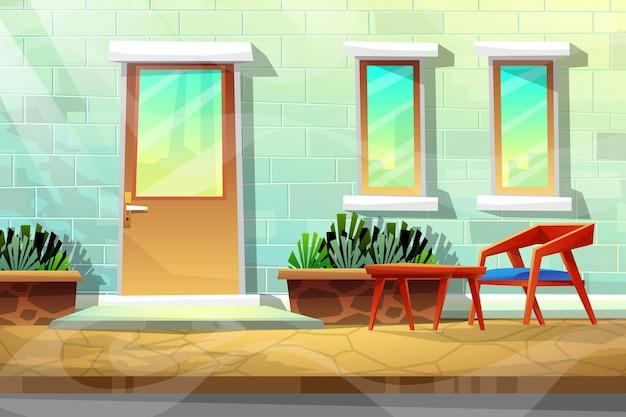 Scena drewnianego krzesła i stołu na zewnątrz domu w pobliżu ulicy