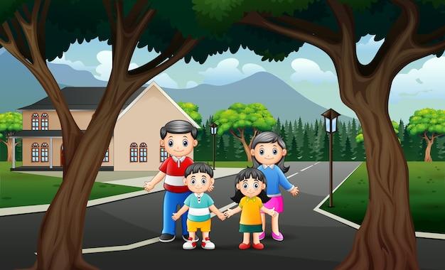 Scena drogowa z szczęśliwą rodzinną ilustracją