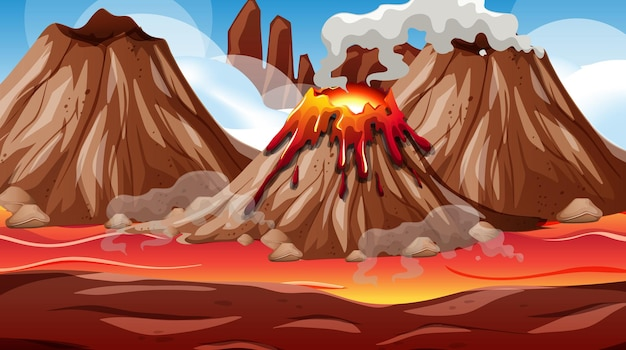 Scena erupcji wulkanu w ciągu dnia