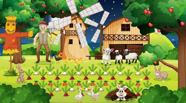 Scena farmy w nocy ze starym rolnikiem i uroczymi zwierzętami