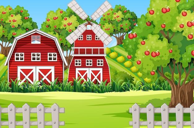 Scena farmy z czerwoną stodołą i wiatrakiem