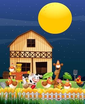 Scena farmy z farmą zwierząt w stylu cartoon nocy