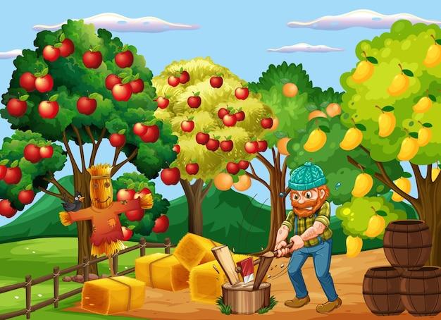 Scena farmy z rolnikiem i wieloma drzewami owocowymi