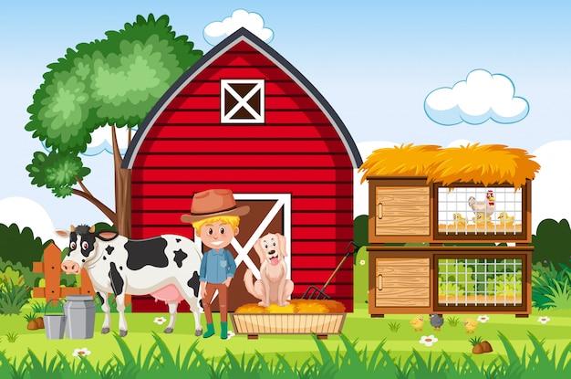 Scena farmy z rolnikiem i zwierzętami w gospodarstwie