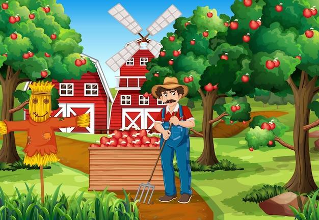 Scena farmy z rolnikiem zbierającym jabłka