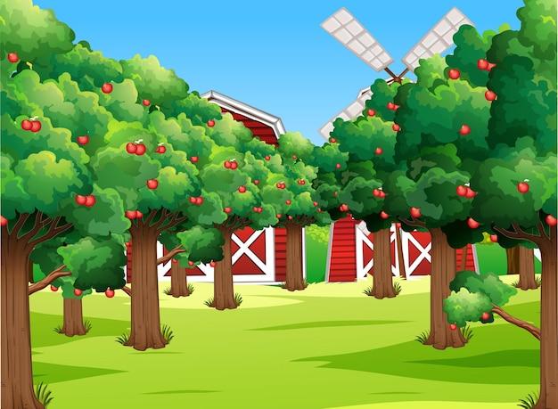 Scena farmy z wieloma jabłoniami