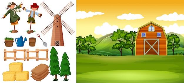 Scena farmy ze stodołą i innymi przedmiotami gospodarstwa